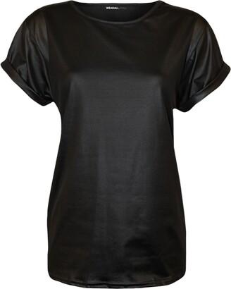 Zet New Ladies Womens Plus Size Celebrity Top Leather Wet Look PVC Pu T Shirt Vest Size 8-26 (S/M (8-10 UK)