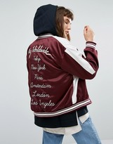 Obey Satin Bomber Jacket With Eagle Embroidery And Back Design