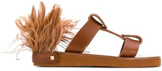 Valentino flat sandals with feather details