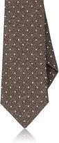 Isaia Men's Dot-Pattern Wool Necktie-BROWN