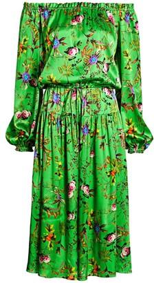 Adriana Iglesias Creek Off-The-Shoulder Floral Stretch-Silk Dress
