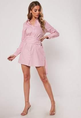 Missguided Pink Poplin Belted Shirt Dress