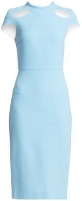 Roland Mouret Talland Wool Cut-Out Sheath Dress