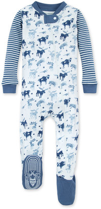 Burt's Bees Antler Family Organic Baby Zip Front Snug Fit Footed Pajamas