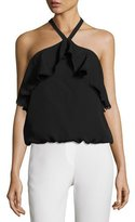 Alice + Olivia Monet Ruffled Halter Top, Black