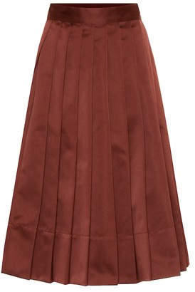 Plan C High-rise pleated satin midi skirt