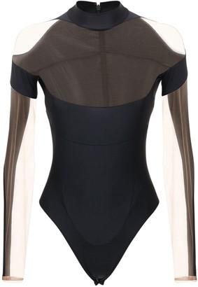 Thierry Mugler Stretch Bodysuit W/ Sheer Inserts