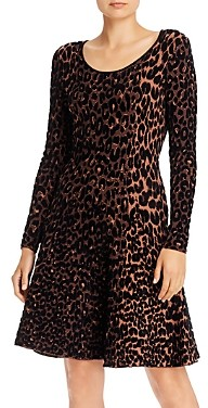Milly Textured Cheetah Fit and Flare Dress
