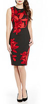 Calvin Klein Floral Print Scuba Sheath Dress