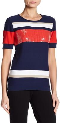 Joan Vass Stripe Sequin Short Sleeve Sweater