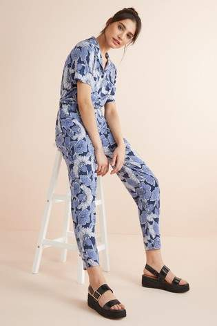 Next Womens Blue Floral Jersey Jumpsuit