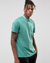 Selected Slim Fit Slub Jersey Polo Shirt with Overdye