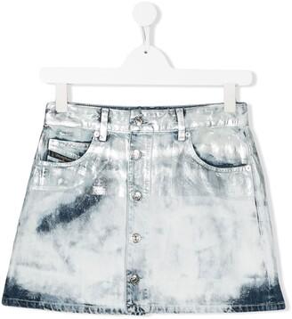 Diesel TEEN spray-effect denim skirt