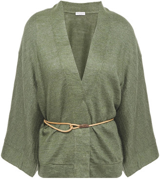 Brunello Cucinelli Belted Linen And Silk-blend Cardigan