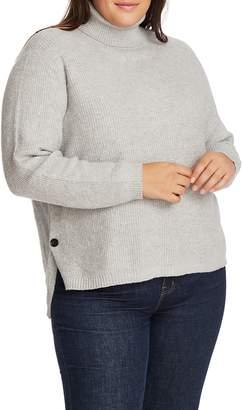 1 STATE 1.STATE Side Button Waffle Stitch Turtleneck Sweater