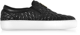 Roberto Cavalli Black Nappa Star Quilted Leather Slip On Sneakers
