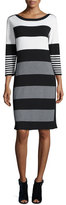 Joan Vass Multi-Stripe 3/4-Sleeve Sweaterdress, Ivory/Gray/Black, Petite