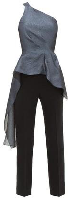 Roland Mouret Jara Asymmetric Lame-cloque Jumpsuit - Blue Multi