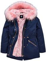 Very Parka With Faux Fur Trim Lining and Hood