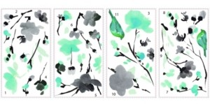 York Wall Coverings York Wallcoverings Blossom Watercolor Bird Branch Peel and Stick Wall Decals