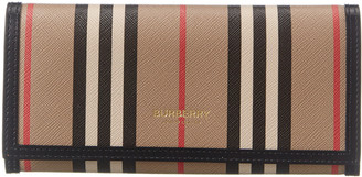Burberry Icon Stripe E-Canvas & Leather Continental Wallet