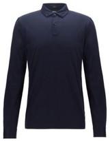 HUGO BOSS - Slim Fit Long Sleeved Polo Shirt In Mercerized Cotton - Dark Blue