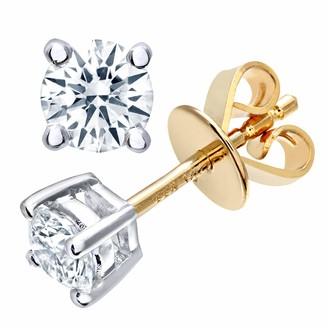 Naava Women's Round Brilliant 0.50ct I/I1 Certified Diamonds 9 ct Yellow Gold Stud Earrings