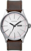 Nixon Sentry Leather with Silver Dial