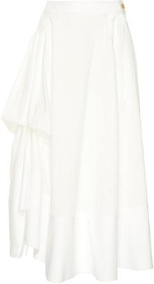 Loewe Gathered Paneled Cotton Midi Skirt