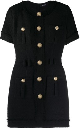 Balmain Black Tweed Mini Dress