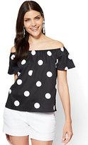 New York & Co. 7th Avenue - Off-The-Shoulder Shirt - Black - Polka-Dot Print
