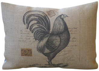 """Polkadot Apple Pillows French Rooster Burlap Pillow, 12""""x16"""""""