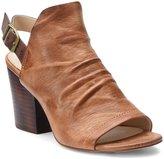 Isola Lasara Ruched Leather Slingback Block Heel Sandals