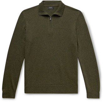 J.Crew Everyday Melange Cashmere Half-Zip Sweater