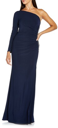 Adrianna Papell One-Shoulder Embellished Gown