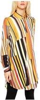 ARJOSA Women's Color Block Button Down Long Sleeve Tunic Shirt Loose Fit Blouse (L 10-12, )