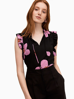 Kate Spade Grand Flora Tie Neck Shell