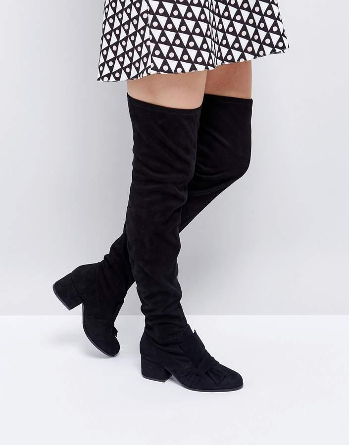 London Rebel Over Knee Boots
