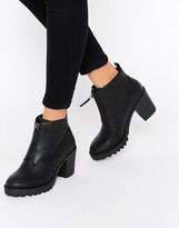 London Rebel Zip Front Chunky Heeled Ankle Boots