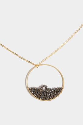 francesca's Angela Woven Beaded Circle Pendant Necklace - Hematite