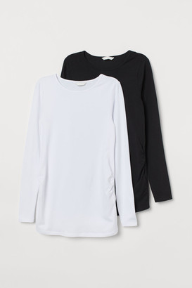 H&M MAMA 2-pack Cotton Jersey Tops - White