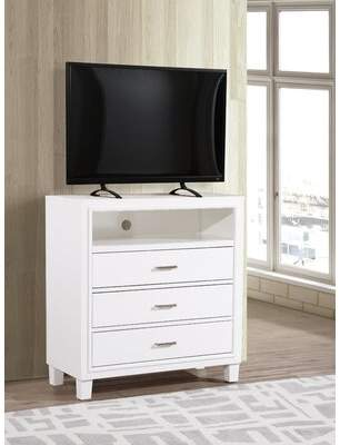 Charlton Home Weatherspoon 3 Drawer Bachelor's Chest Color: White
