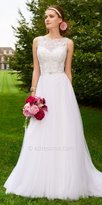 Camille La Vie Beaded Illusion Pleated Tulle Skirt Wedding Dress