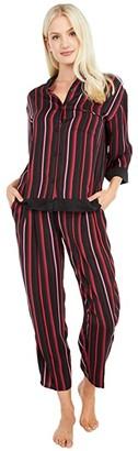 Donna Karan 3/4 Long PJ Set (Black Stripe) Women's Pajama Sets