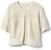Fringe short sleeve sweater