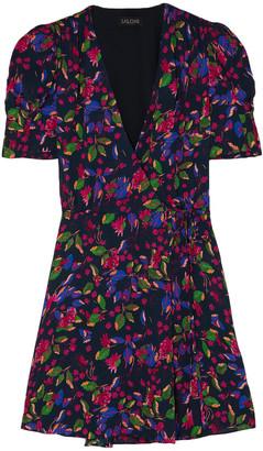 Saloni Lea Floral-print Chiffon Wrap Mini Dress