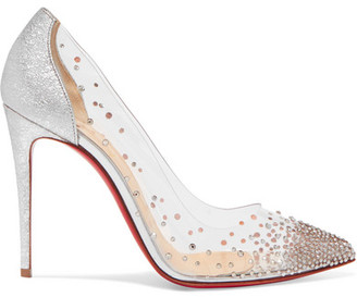 Christian Louboutin Degrastrass 100 Crystal-embellished Pvc And Metallic Cracked-leather Pumps - Silver
