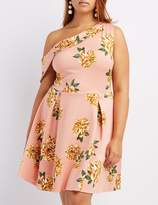 Charlotte Russe Plus Size Floral One-Shoulder Skater Dress