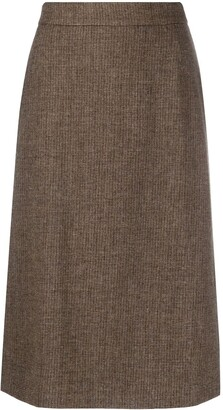 12 Storeez High-Waisted Wool Midi Skirt