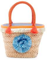 Milly Pompom Straw Small Tote Bag